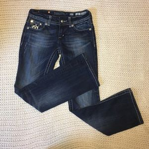 Miss Me dark wash distressed bootcut jeans size 27
